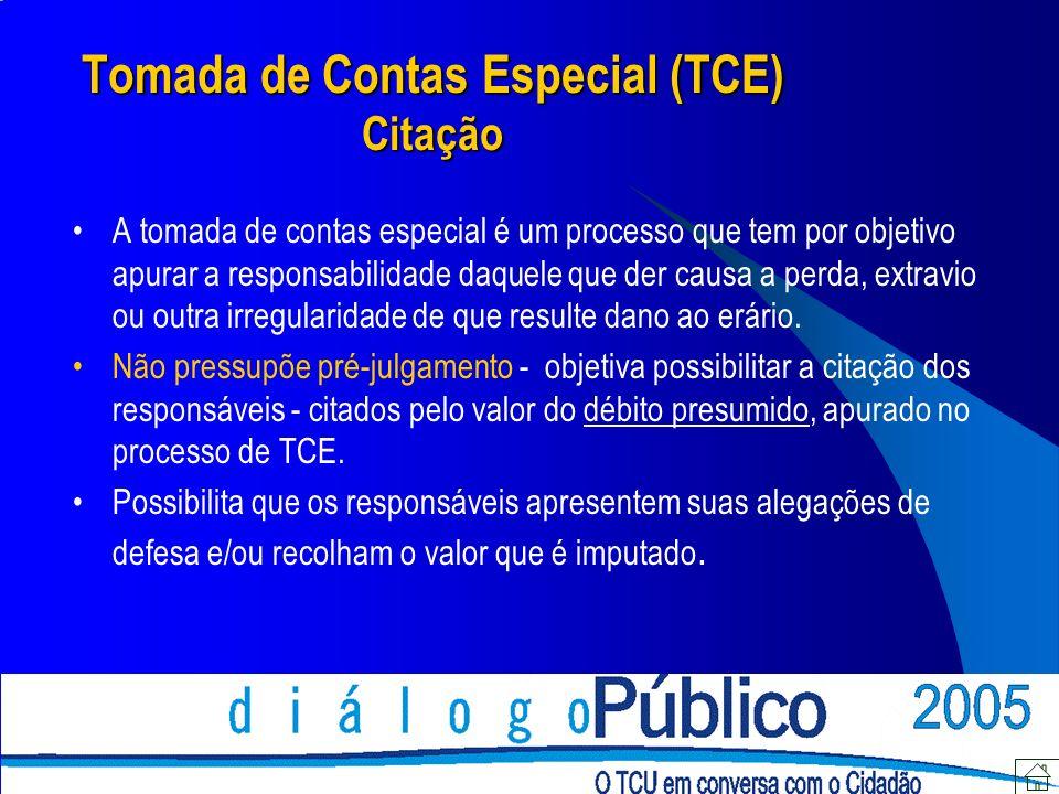 Tomada de Contas Especial (TCE) Citação A tomada de contas especial é um processo que tem por objetivo apurar a responsabilidade daquele que der causa