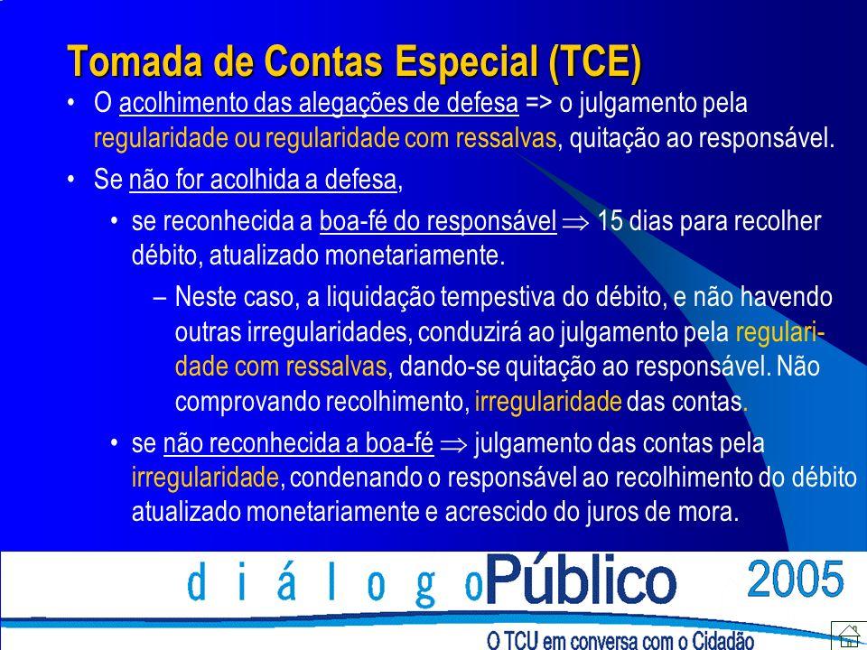 Tomada de Contas Especial (TCE) O acolhimento das alegações de defesa => o julgamento pela regularidade ou regularidade com ressalvas, quitação ao res