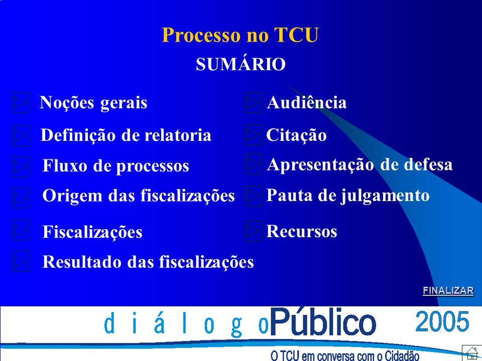Processo no TCU - Noções Gerais Fato Processo Relator (designado entre os 9 ministros e os 3 auditores, que são ministros-substitutos) presidir a instrução do processo, determinando a adoção de medidas preliminares (diligência, audiência, citação ou sobrestamento); submeter o processo ao Colegiado competente (Plenário ou uma das duas Câmaras) com proposta de mérito (voto).