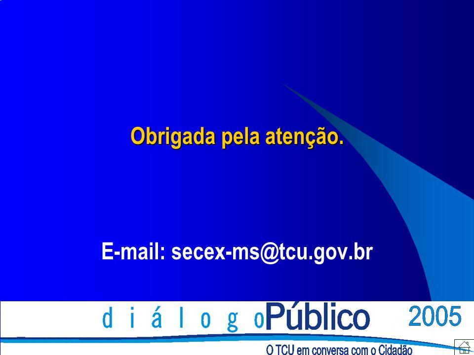 Obrigada pela atenção. E-mail: secex-ms@tcu.gov.br