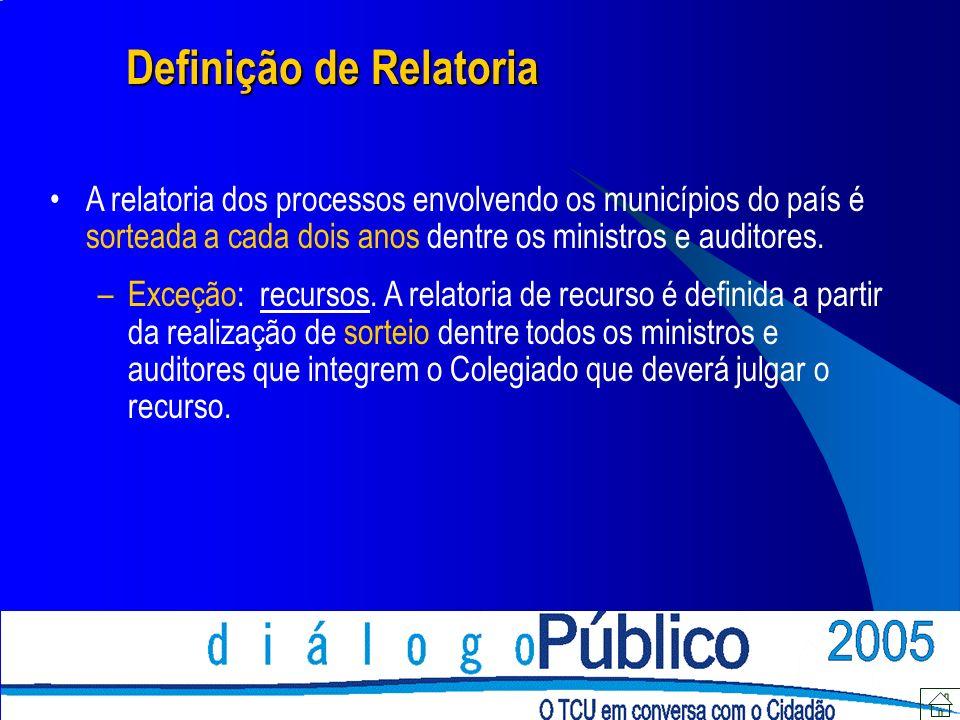 Definição de Relatoria Os processos relacionados aos municípios do Estado do Mato Grosso do Sul possuem os seguintes relatores, observando-se o ano de autuação do processo: 2001/2002 Ministro Lincoln Magalhães da Rocha 2003/2004 Ministro Augusto Sherman Cavalcanti 2005/2006 Ministro Marcos Bemquerer Costa