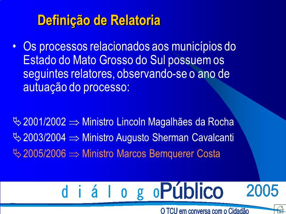 Definição de Relatoria Os processos relacionados aos municípios do Estado do Mato Grosso do Sul possuem os seguintes relatores, observando-se o ano de
