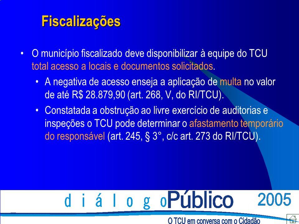 Fiscalizações O município fiscalizado deve disponibilizar à equipe do TCU total acesso a locais e documentos solicitados. A negativa de acesso enseja