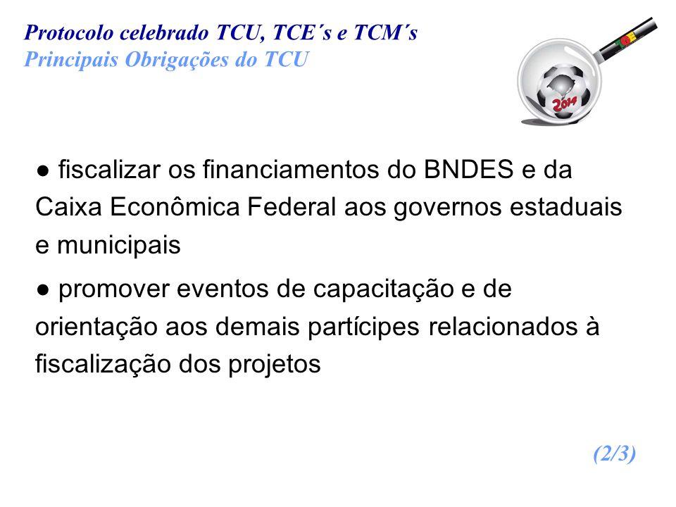 fiscalizar os financiamentos do BNDES e da Caixa Econômica Federal aos governos estaduais e municipais promover eventos de capacitação e de orientação