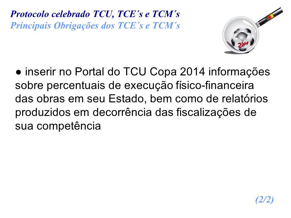 inserir no Portal do TCU Copa 2014 informações sobre percentuais de execução físico-financeira das obras em seu Estado, bem como de relatórios produzi