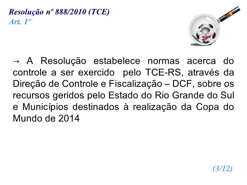 A Resolução estabelece normas acerca do controle a ser exercido pelo TCE-RS, através da Direção de Controle e Fiscalização – DCF, sobre os recursos ge