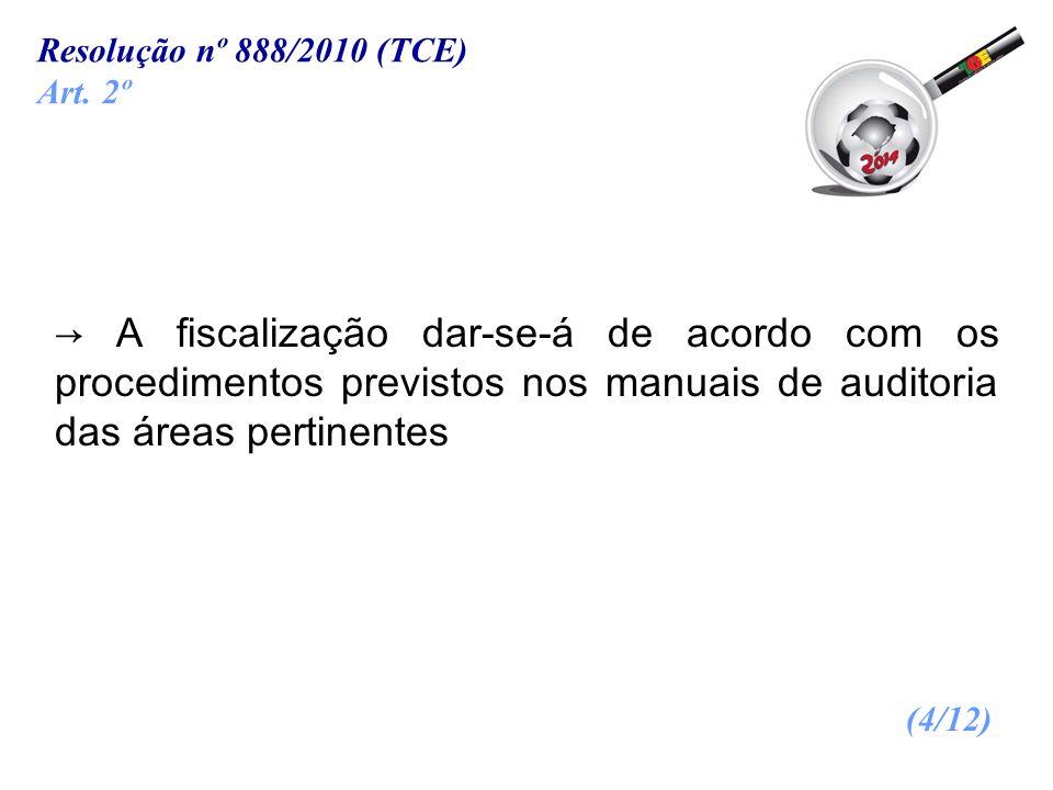 A fiscalização dar-se-á de acordo com os procedimentos previstos nos manuais de auditoria das áreas pertinentes (4/12) Resolução nº 888/2010 (TCE) Art