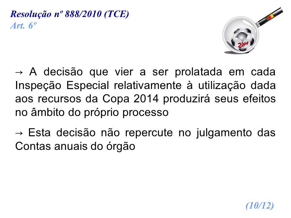 A decisão que vier a ser prolatada em cada Inspeção Especial relativamente à utilização dada aos recursos da Copa 2014 produzirá seus efeitos no âmbit