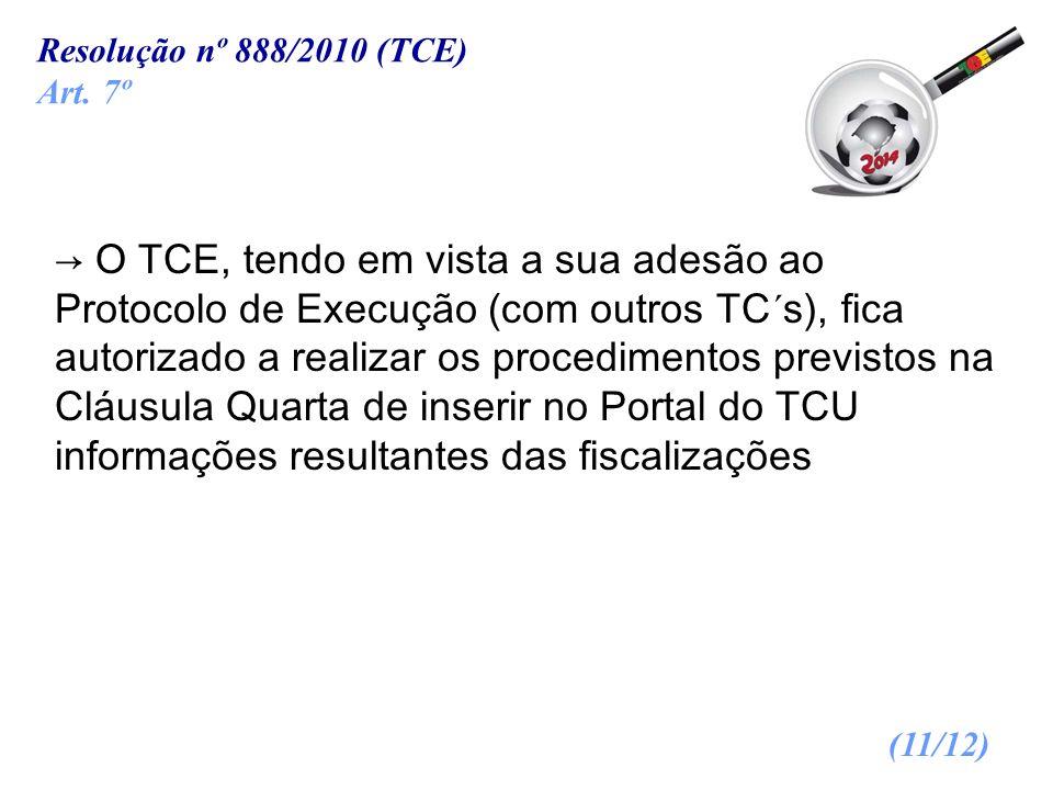 O TCE, tendo em vista a sua adesão ao Protocolo de Execução (com outros TC´s), fica autorizado a realizar os procedimentos previstos na Cláusula Quart