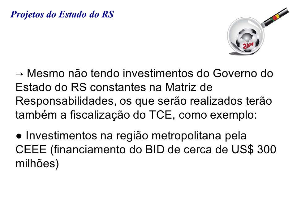 Mesmo não tendo investimentos do Governo do Estado do RS constantes na Matriz de Responsabilidades, os que serão realizados terão também a fiscalizaçã