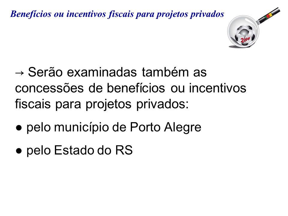 Serão examinadas também as concessões de benefícios ou incentivos fiscais para projetos privados: pelo município de Porto Alegre pelo Estado do RS Ben