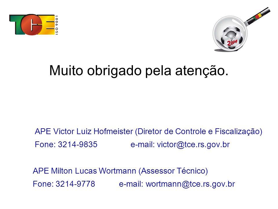 Muito obrigado pela atenção. APE Victor Luiz Hofmeister (Diretor de Controle e Fiscalização) Fone: 3214-9835 e-mail: victor@tce.rs.gov.br APE Milton L