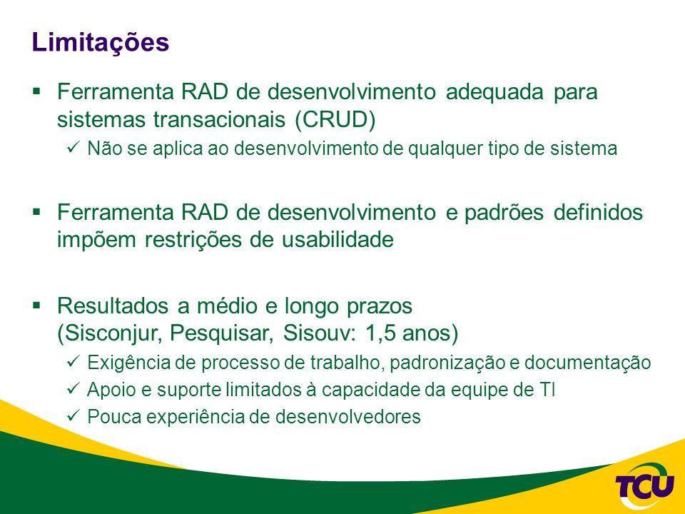 Limitações Ferramenta RAD de desenvolvimento adequada para sistemas transacionais (CRUD) Não se aplica ao desenvolvimento de qualquer tipo de sistema