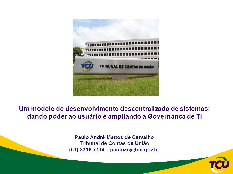 Paulo André Mattos de Carvalho Tribunal de Contas da União (61) 3316-7114 / pauloac@tcu.gov.br Um modelo de desenvolvimento descentralizado de sistema