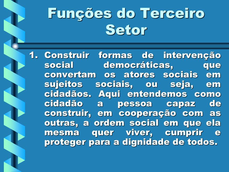 Funções do Terceiro Setor 1.Construir 1.Construir formas de intervenção social democráticas, que convertam os atores sociais em sujeitos sociais, ou s