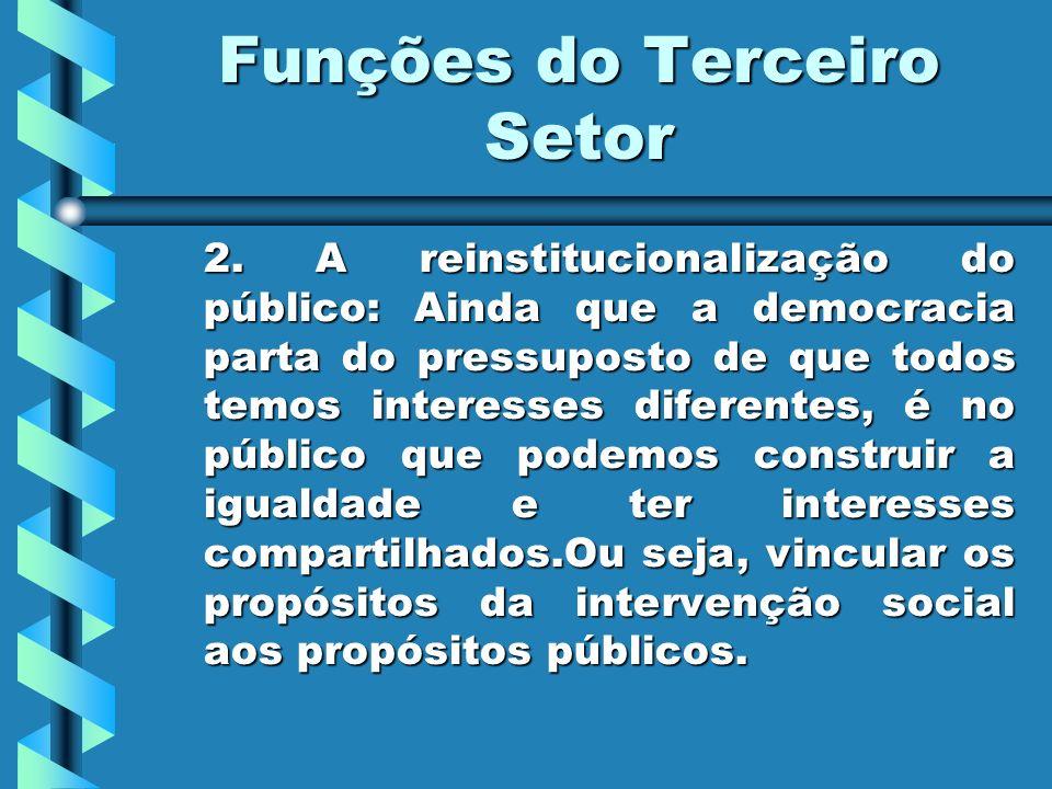 Funções do Terceiro Setor 2. A reinstitucionalização do público: Ainda que a democracia parta do pressuposto de que todos temos interesses diferentes,
