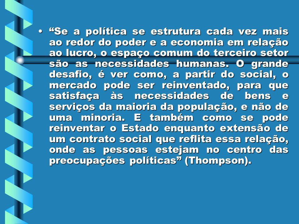 SeSe a política se estrutura cada vez mais ao redor do poder e a economia em relação ao lucro, o espaço comum do terceiro setor são as necessidades humanas.