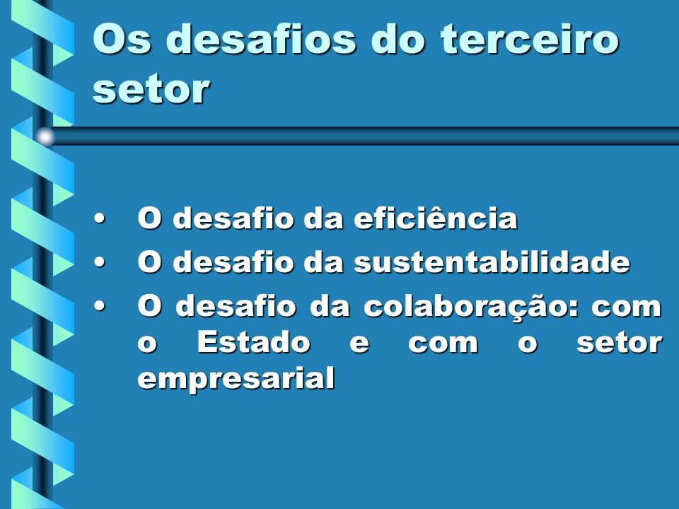 Os desafios do terceiro setor O desafio da eficiênciaO desafio da eficiência O desafio da sustentabilidadeO desafio da sustentabilidade O desafio da colaboração: com o Estado e com o setor empresarialO desafio da colaboração: com o Estado e com o setor empresarial