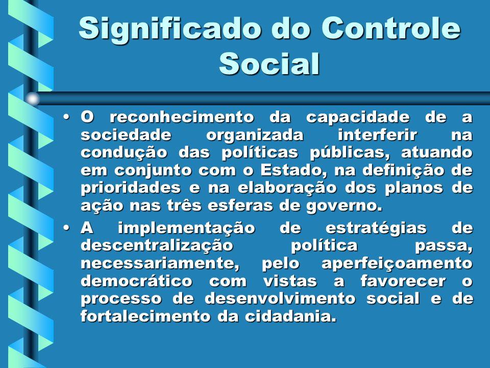 Significado do Controle Social O reconhecimento da capacidade de a sociedade organizada interferir na condução das políticas públicas, atuando em conj