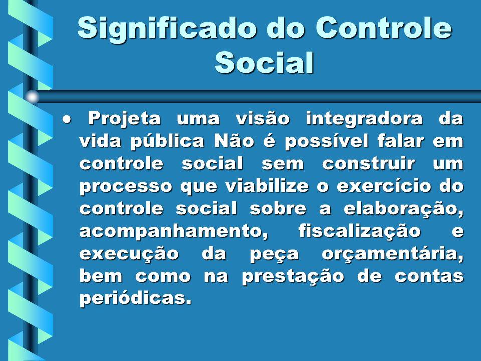 Significado do Controle Social Projeta uma visão integradora da vida pública Não é possível falar em controle social sem construir um processo que viabilize o exercício do controle social sobre a elaboração, acompanhamento, fiscalização e execução da peça orçamentária, bem como na prestação de contas periódicas.