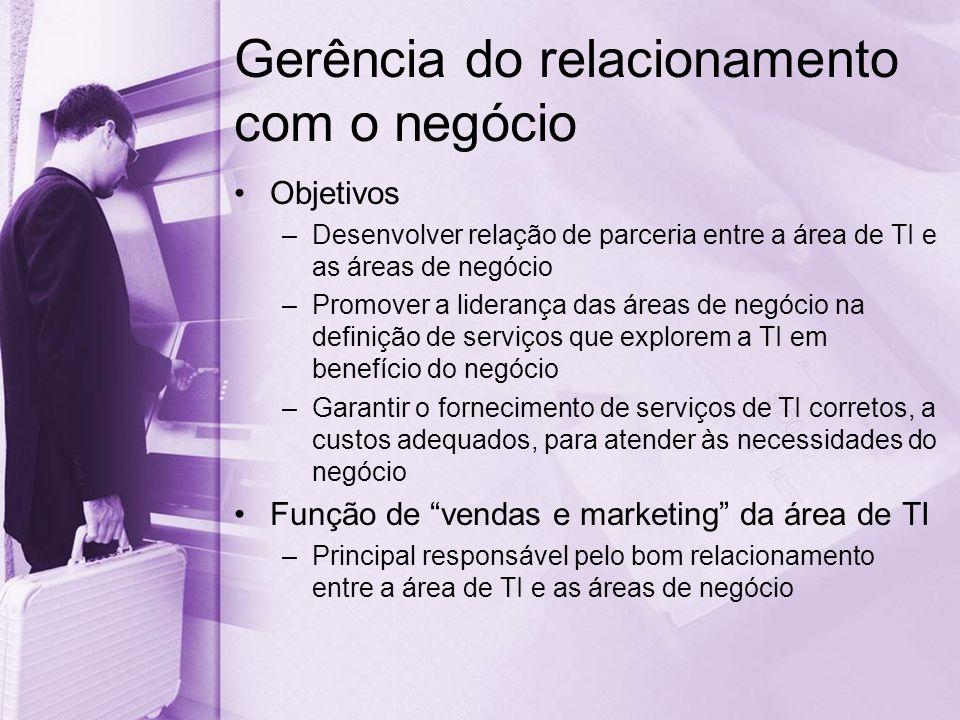 Gerência do relacionamento com o negócio Objetivos –Desenvolver relação de parceria entre a área de TI e as áreas de negócio –Promover a liderança das áreas de negócio na definição de serviços que explorem a TI em benefício do negócio –Garantir o fornecimento de serviços de TI corretos, a custos adequados, para atender às necessidades do negócio Função de vendas e marketing da área de TI –Principal responsável pelo bom relacionamento entre a área de TI e as áreas de negócio