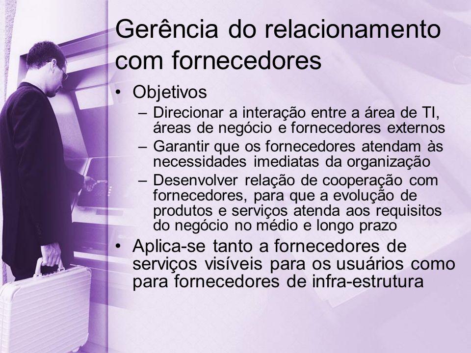 Gerência do relacionamento com fornecedores Objetivos –Direcionar a interação entre a área de TI, áreas de negócio e fornecedores externos –Garantir que os fornecedores atendam às necessidades imediatas da organização –Desenvolver relação de cooperação com fornecedores, para que a evolução de produtos e serviços atenda aos requisitos do negócio no médio e longo prazo Aplica-se tanto a fornecedores de serviços visíveis para os usuários como para fornecedores de infra-estrutura
