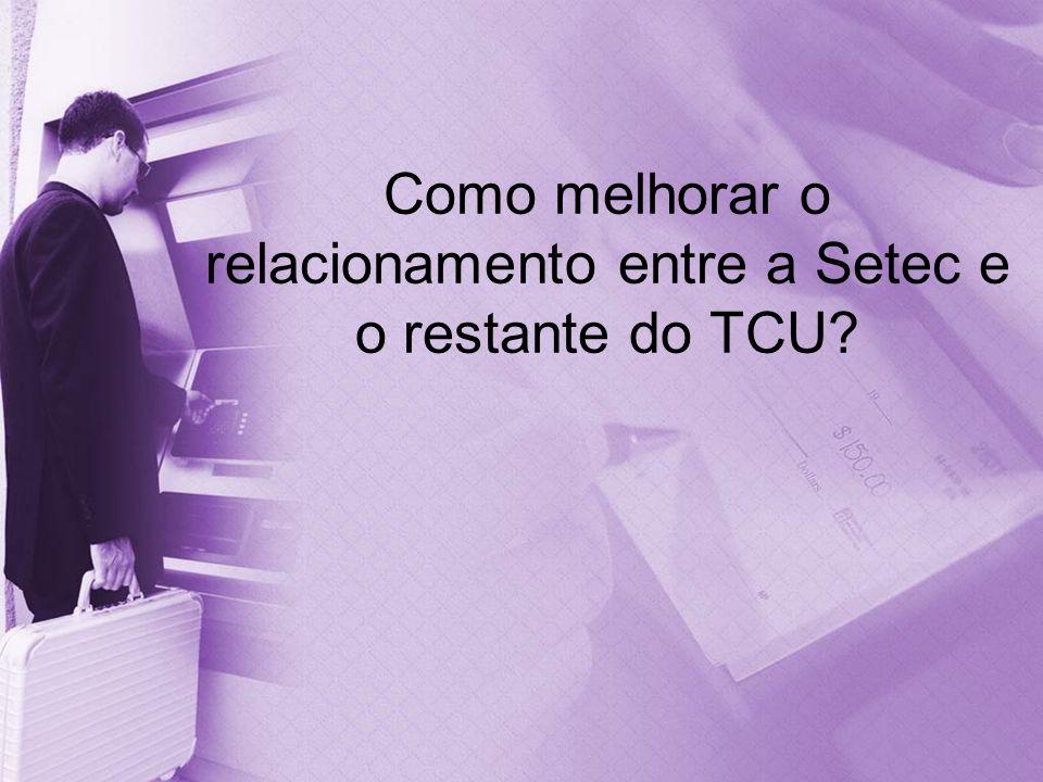 Como melhorar o relacionamento entre a Setec e o restante do TCU?