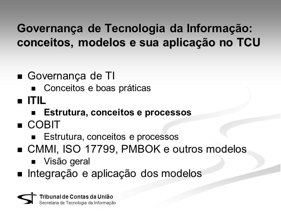 Tribunal de Contas da União Secretaria de Tecnologia da Informação Governança de Tecnologia da Informação: conceitos, modelos e sua aplicação no TCU G