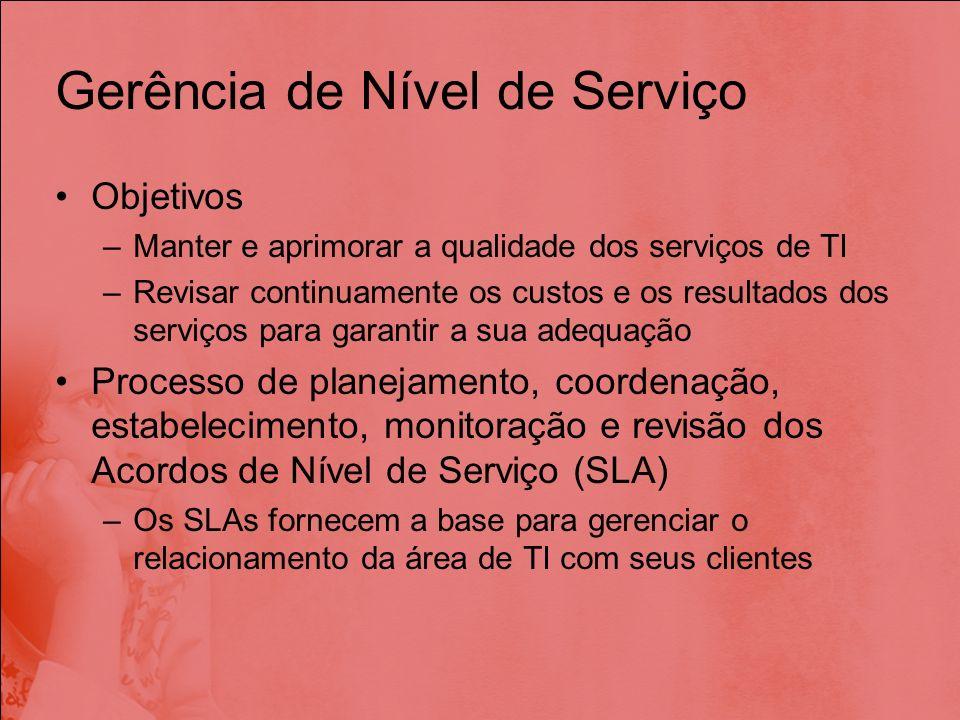Gerência de Nível de Serviço Objetivos –Manter e aprimorar a qualidade dos serviços de TI –Revisar continuamente os custos e os resultados dos serviço