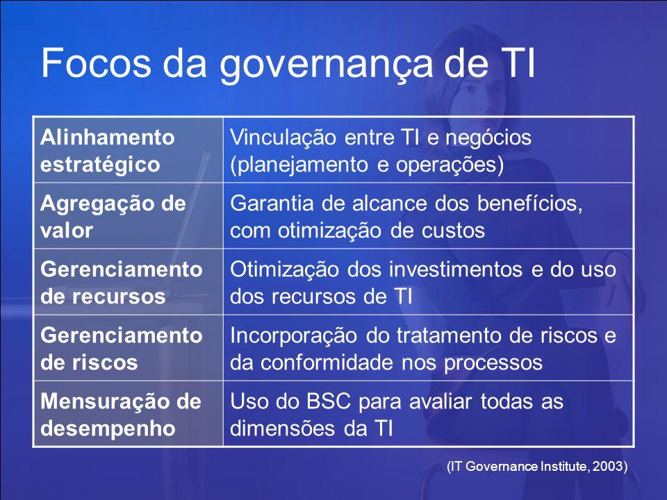 (IT Governance Institute, 2003) Focos da governança de TI Alinhamento estratégico Vinculação entre TI e negócios (planejamento e operações) Agregação