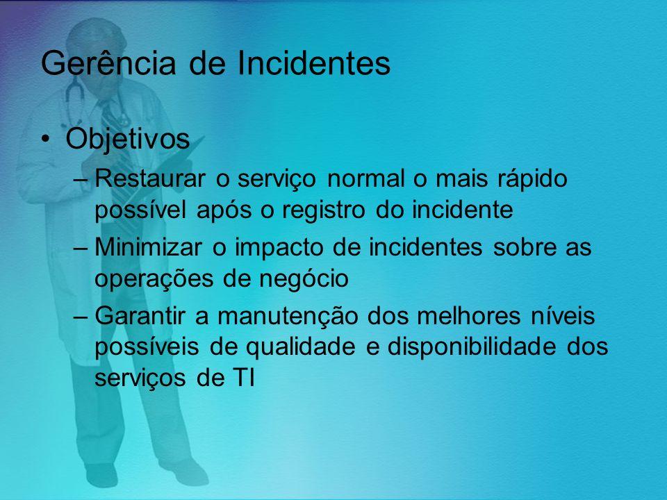 Gerência de Incidentes Objetivos –Restaurar o serviço normal o mais rápido possível após o registro do incidente –Minimizar o impacto de incidentes so