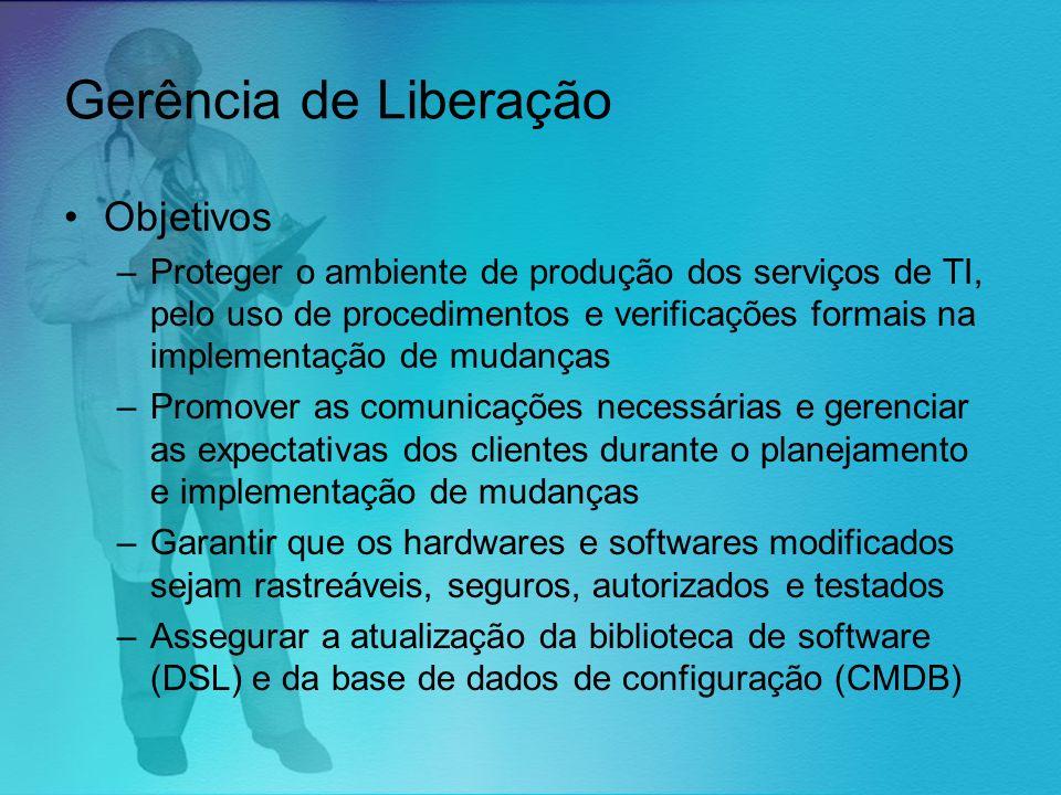 Gerência de Liberação Objetivos –Proteger o ambiente de produção dos serviços de TI, pelo uso de procedimentos e verificações formais na implementação