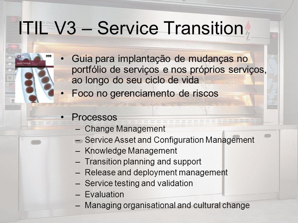 ITIL V3 – Service Transition Guia para implantação de mudanças no portfólio de serviços e nos próprios serviços, ao longo do seu ciclo de vida Foco no