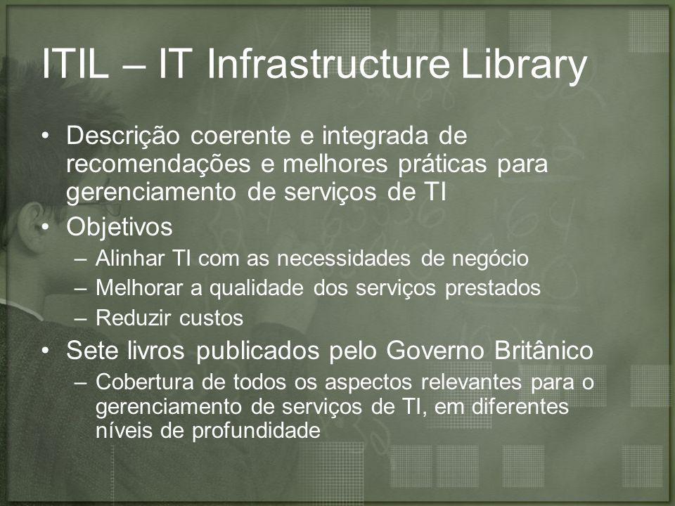 ITIL – IT Infrastructure Library Descrição coerente e integrada de recomendações e melhores práticas para gerenciamento de serviços de TI Objetivos –A