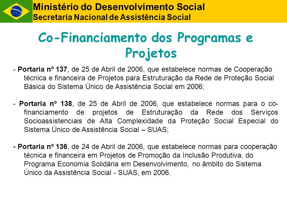 Co-Financiamento dos Programas e Projetos - Portaria nº 137, de 25 de Abril de 2006, que estabelece normas de Cooperação técnica e financeira de Projetos para Estruturação da Rede de Proteção Social Básica do Sistema Único de Assistência Social em 2006; - Portaria nº 138, de 25 de Abril de 2006, que estabelece normas para o co- financiamento de projetos de Estruturação da Rede dos Serviços Socioassistenciais de Alta Complexidade da Proteção Social Especial do Sistema Único de Assistência Social – SUAS; - Portaria nº 136, de 24 de Abril de 2006, que estabelece normas para cooperação técnica e financeira em Projetos de Promoção da Inclusão Produtiva, do Programa Economia Solidária em Desenvolvimento, no âmbito do Sistema Único da Assistência Social - SUAS, em 2006.