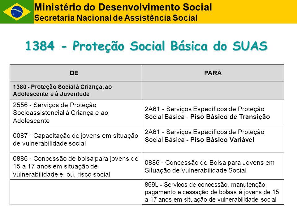 DE PARA 1380 - Proteção Social à Criança, ao Adolescente e à Juventude 2556 - Serviços de Proteção Socioassistencial à Criança e ao Adolescente 2A61 - Serviços Específicos de Proteção Social Básica - Piso Básico de Transição 0087 - Capacitação de jovens em situação de vulnerabilidade social 2A61 - Serviços Específicos de Proteção Social Básica - Piso Básico Variável 0886 - Concessão de bolsa para jovens de 15 a 17 anos em situação de vulnerabilidade e, ou, risco social 0886 - Concessão de Bolsa para Jovens em Situação de Vulnerabilidade Social 869L - Serviços de concessão, manutenção, pagamento e cessação de bolsas à jovens de 15 a 17 anos em situação de vulnerabilidade social 1384 - Proteção Social Básica do SUAS Ministério do Desenvolvimento Social Secretaria Nacional de Assistência Social