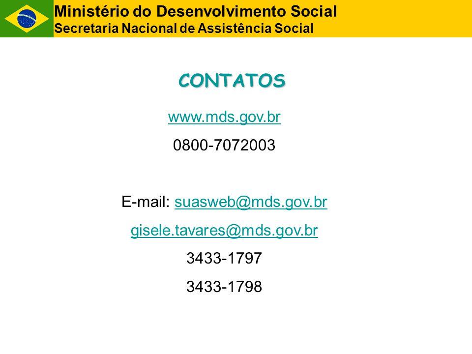 CONTATOS Ministério do Desenvolvimento Social Secretaria Nacional de Assistência Social www.mds.gov.br 0800-7072003 E-mail: suasweb@mds.gov.brsuasweb@mds.gov.br gisele.tavares@mds.gov.br 3433-1797 3433-1798