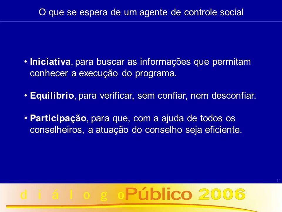 14 O que se espera de um agente de controle social Iniciativa, para buscar as informações que permitam conhecer a execução do programa. Equilíbrio, pa