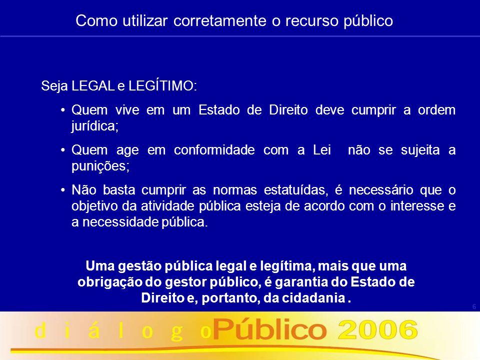 6 Seja LEGAL e LEGÍTIMO: Quem vive em um Estado de Direito deve cumprir a ordem jurídica; Quem age em conformidade com a Lei não se sujeita a punições