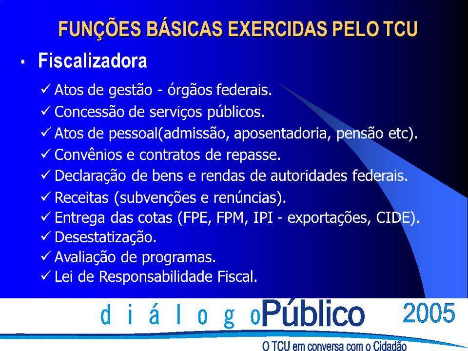 FUNÇÕES BÁSICAS EXERCIDAS PELO TCU Fiscalizadora Atos de gestão - órgãos federais. Concessão de serviços públicos. Atos de pessoal(admissão, aposentad