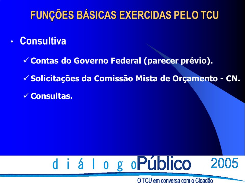 FUNÇÕES BÁSICAS EXERCIDAS PELO TCU Consultiva Contas do Governo Federal (parecer prévio). Solicitações da Comissão Mista de Orçamento - CN. Consultas.