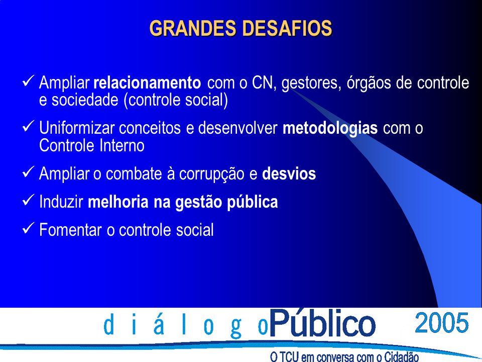 GRANDES DESAFIOS Ampliar relacionamento com o CN, gestores, órgãos de controle e sociedade (controle social) Uniformizar conceitos e desenvolver metod