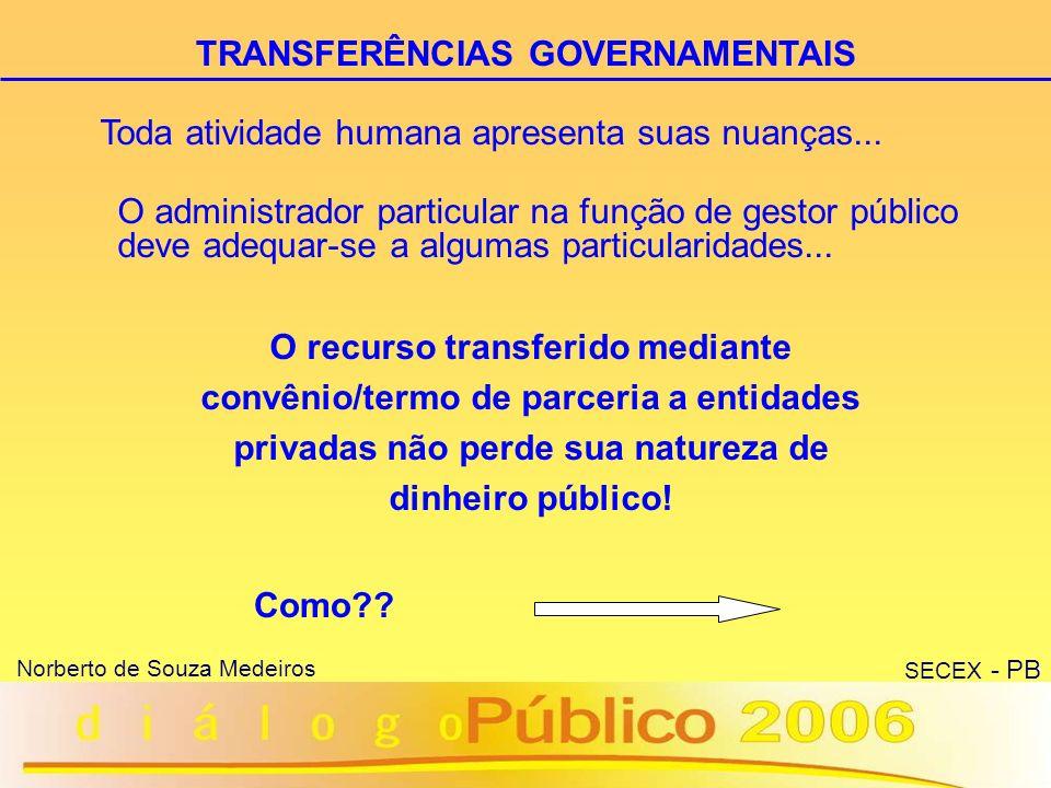 25 Norberto de Souza Medeiros SECEX - PB TRANSFERÊNCIAS GOVERNAMENTAIS Lei 9.790 de 23 de março de 1999, e Decreto 3.100 de 30 de junho de 1999.