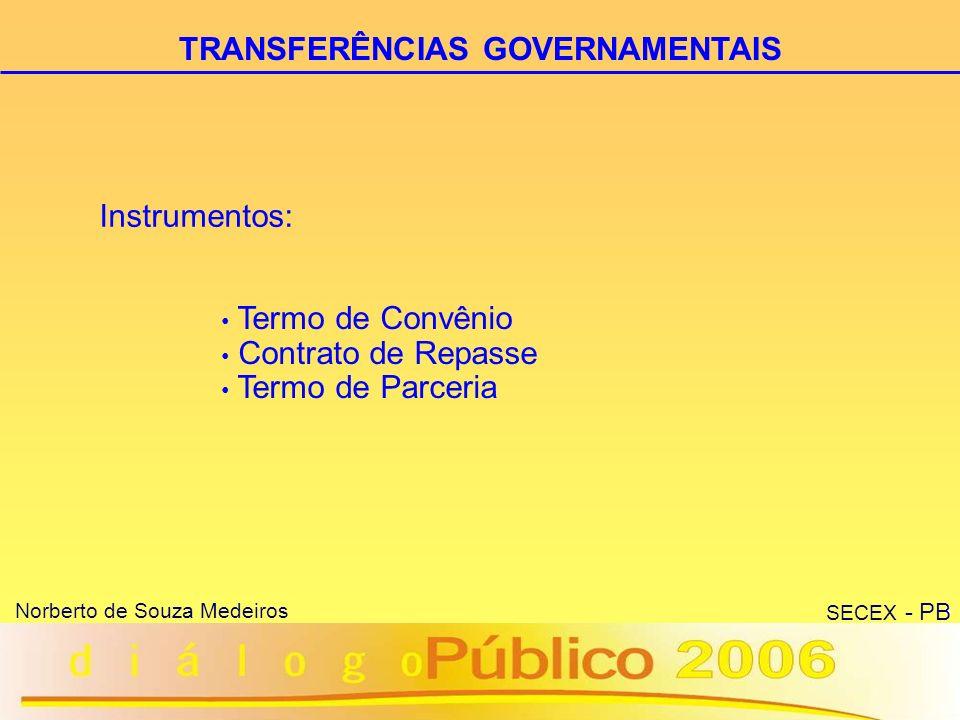 9 Norberto de Souza Medeiros SECEX - PB Acordo que disciplina a transferência de recursos financeiros federais para a execução descentralizada de programa de trabalho de interesse recíproco em regime de mútua cooperação.