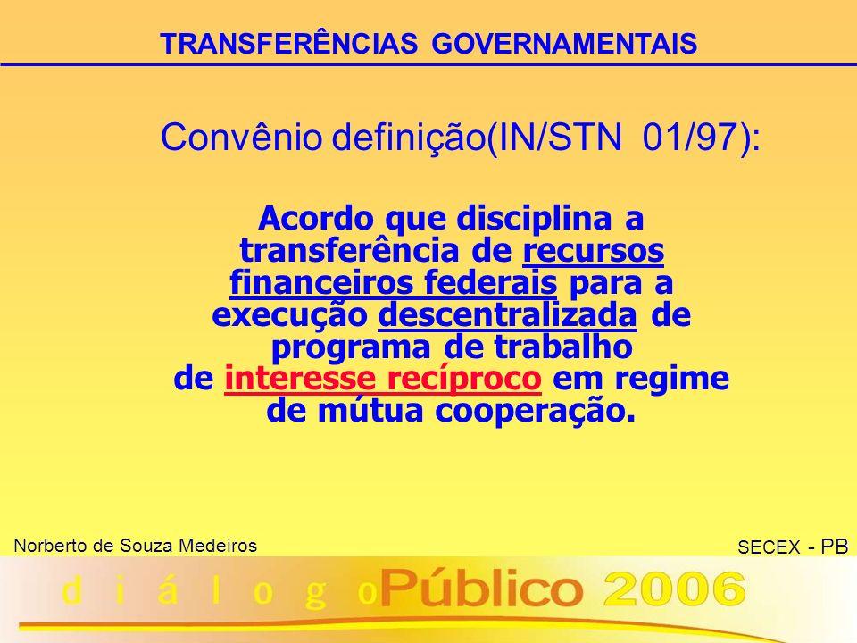 10 Norberto de Souza Medeiros SECEX - PB CONTRATO DE REPASSE (Decreto nº 1.819/96) Áreas mais atendidas: Habitação Saneamento e infra-estrutura urbana Esporte Programas relacionados à agricultura.