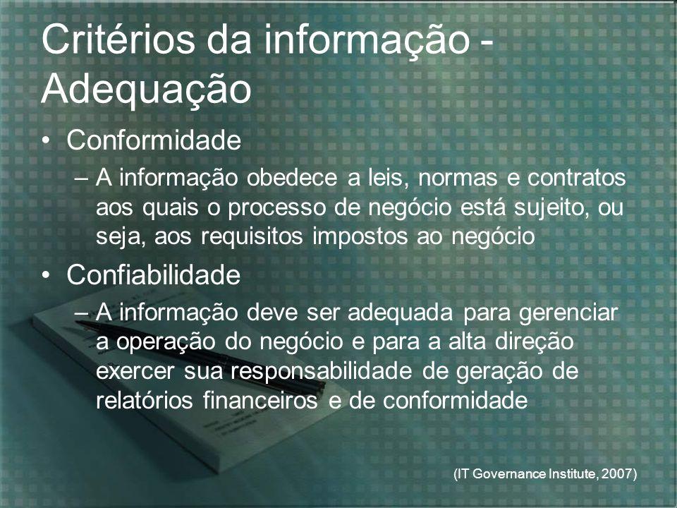 (IT Governance Institute, 2007) Critérios da informação - Adequação Conformidade –A informação obedece a leis, normas e contratos aos quais o processo