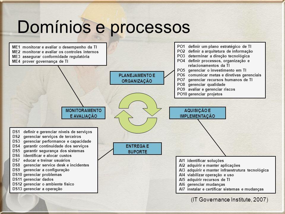 (IT Governance Institute, 2007) DS1 definir e gerenciar níveis de serviços DS2 gerenciar serviços de terceiros DS3 gerenciar performance e capacidade