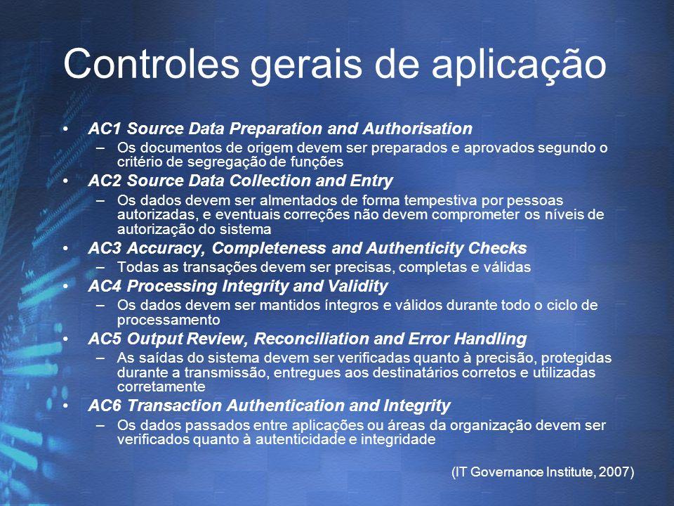 (IT Governance Institute, 2007) Controles gerais de aplicação AC1 Source Data Preparation and Authorisation –Os documentos de origem devem ser prepara