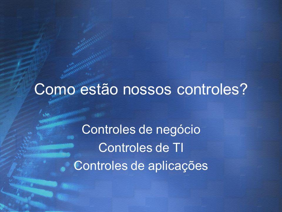 Como estão nossos controles? Controles de negócio Controles de TI Controles de aplicações