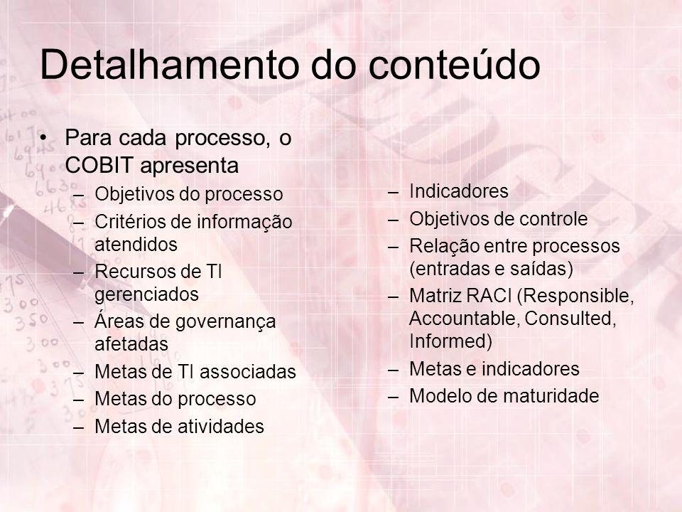 Detalhamento do conteúdo Para cada processo, o COBIT apresenta –Objetivos do processo –Critérios de informação atendidos –Recursos de TI gerenciados –